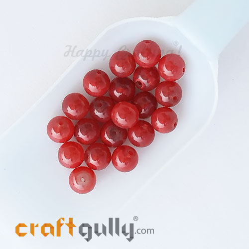 Glass Beads 10mm Round - Trans. Strawberry Red - 20 Beads