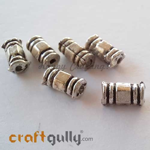 German Silver Beads 7mm - Pipe #4 - Silver Finish - Pack of 6