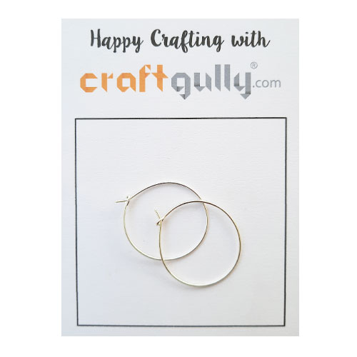 Earring Hoops 25mm  - Silver Finish - 5 Pairs