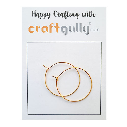 Earring Hoops 30mm - Golden Finish - 5 Pairs