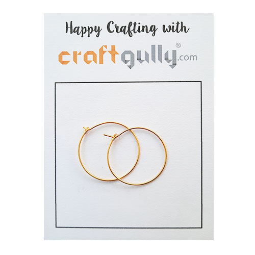 Earring Hoops 25mm - Golden Finish - 5 Pairs