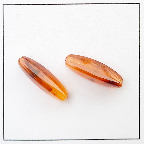 Acrylic Beads 28mm - Marquis #1 - Trans. Amber - 6 Beads
