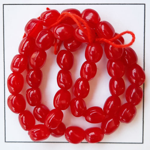 Glass Beads 9mm - Oval - Trans. Red - 1 String