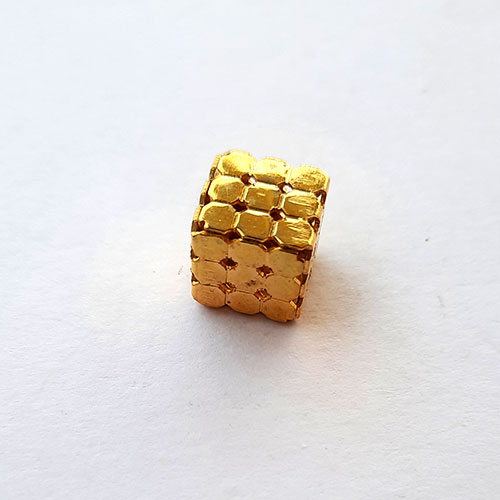 Metal Beads 11mm - Designer #15 Cube - Golden - 1 Bead