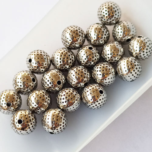 Acrylic Beads 10mm Round Design #11 - Silver Finish - 20 Beads