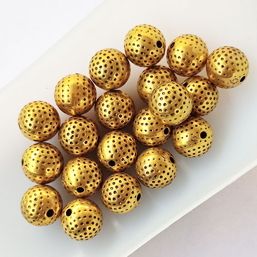 Acrylic Beads 10mm Round Design #11 - Golden Finish - 20 Beads