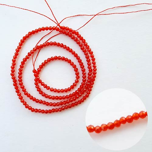 Seed Beads 2mm Glass Round Faceted Trans. Red - 15inches