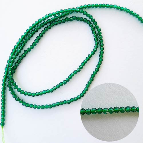 Seed Beads 2mm Glass Round Faceted Trans. Green - 15inches