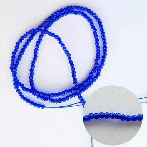 Seed Beads 2mm Glass Round Faceted Trans. Dark Blue - 15inches