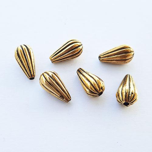 Acrylic Beads 13mm Drop Design #15 - Antique Golden - 30 Beads