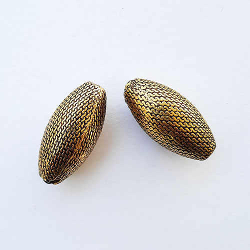 Acrylic Beads 27mm Oval Design #17 - Antique Golden - 4 Beads