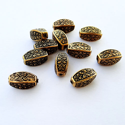 Acrylic Beads 13mm Pipe Design #18 - Antique Golden - 24 Beads