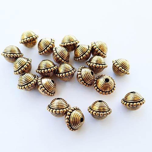Acrylic Beads 12mm Bicone Design #19 - Antique Golden - 20 Beads
