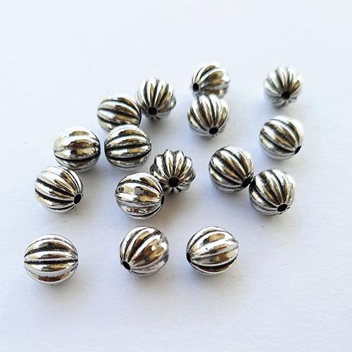 Acrylic Beads 8mm Pumpkin Design #20 - Silver Finish - 40 Beads