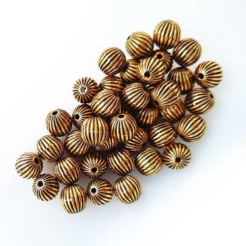Acrylic Beads 8mm Round Design #10 - Antique Golden - 40 Beads