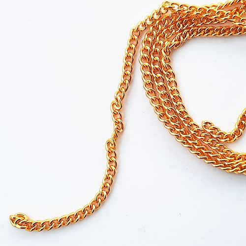 Chains - Round Flat 5mm - 18 Gauge Golden Finish - 30inches