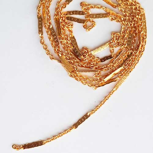 Chains - Oval 2mm Designer #1 - Golden Finish - 36inches