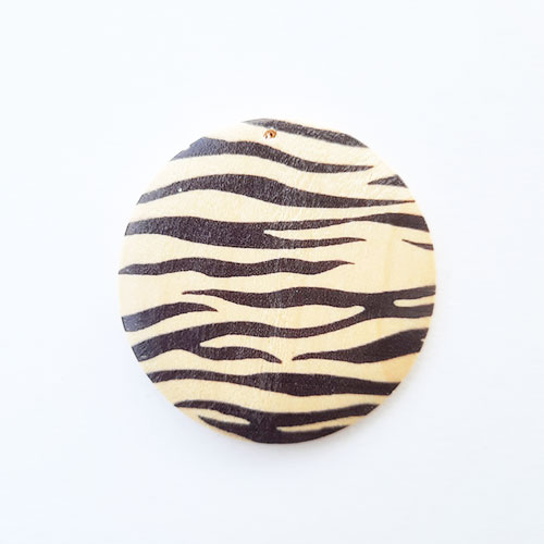 Pendant Base 50mm - Wooden Round Printed #1 - Pack of 1