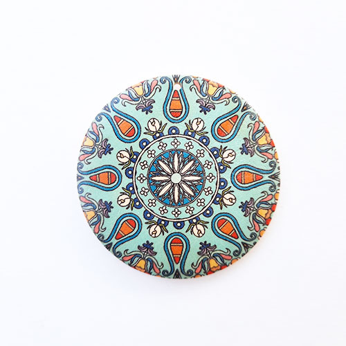 Pendant Base 50mm - Wooden Round Printed #6 - Pack of 1