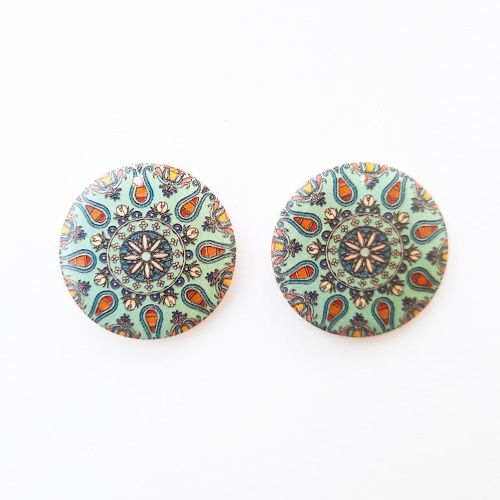 Earring / Pendant Base 30mm - Wooden Round Printed #7 - Pack of 2
