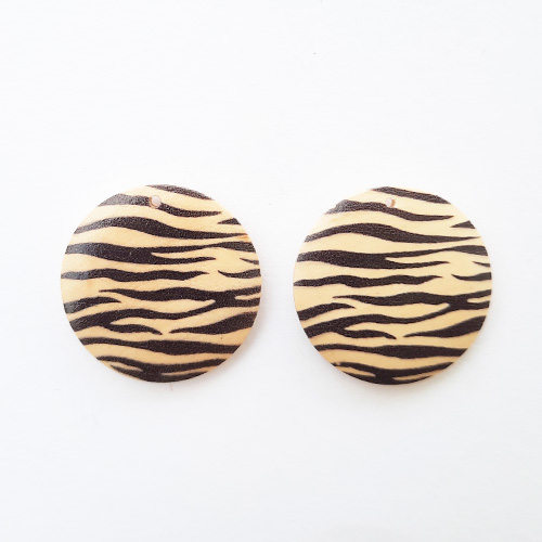 Earring / Pendant Base 30mm - Wooden Round Printed #8 - Pack of 2