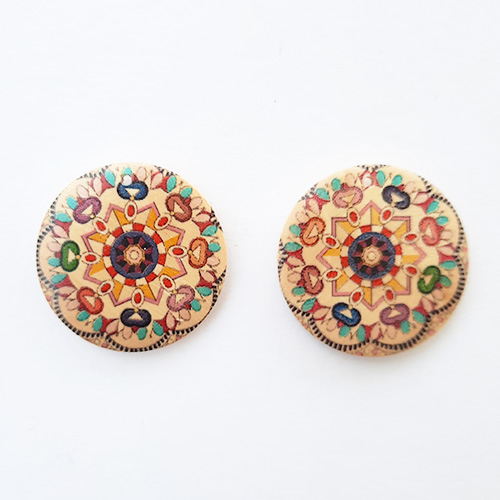 Earring / Pendant Base 30mm - Wooden Round Printed #9 - Pack of 2