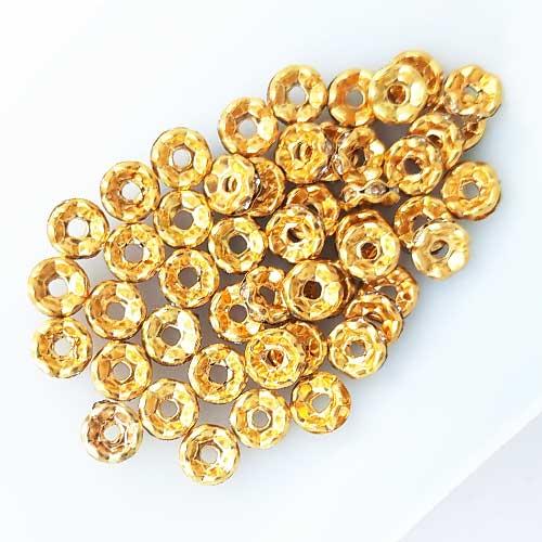 Spacer Beads 6mm - Rhinestones Golden - 5gms