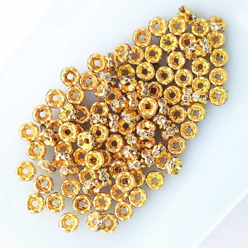 Spacer Beads 4mm - Rhinestones Golden - 5gms
