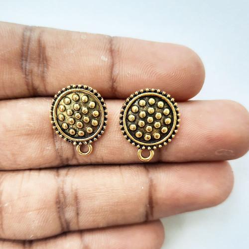 Earring Studs Design #14 - Antique Golden - 2 Pairs