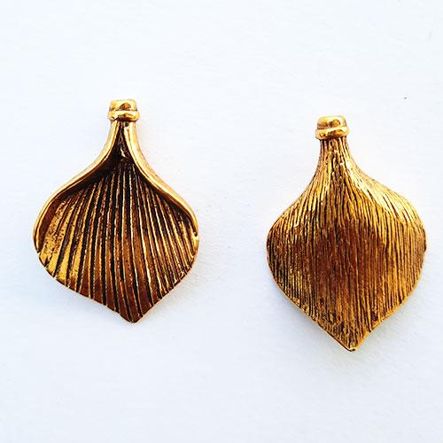 Metal Beads 28mm - Design #19 - Antique Golden Finish - 2 Beads