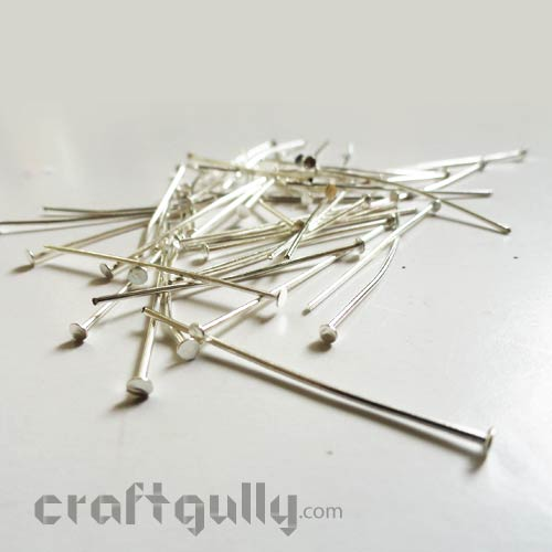 Head Pins Flat 20mm - Silver Finish - Pack of 50