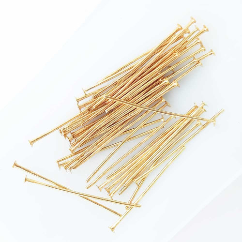 Head Pins Flat 30mm - Golden Finish - Pack of 50