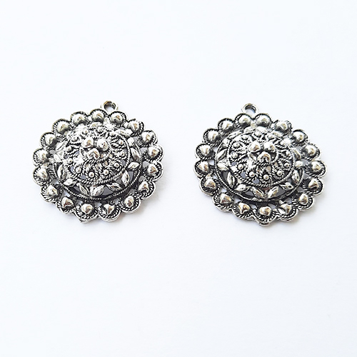 Pendant #19 - 29mm Antique Silver - Pack of 2