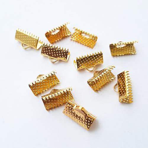 Crimp Ends 13mm - Ribbon Clamp Golden - Pack of 10