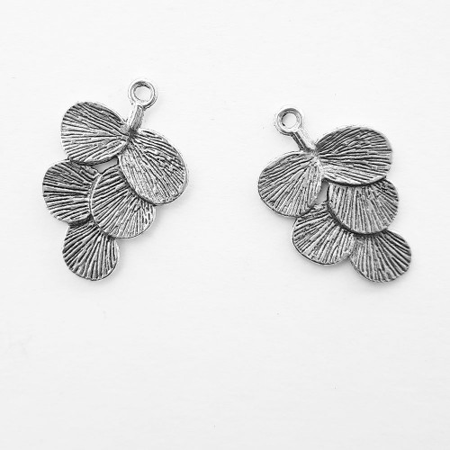 Metal Charms 30mm Design #6 - Silver - 2 Charms