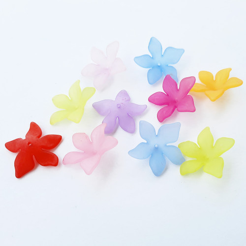 Acrylic Beads 29mm Frosted Lilies - Assorted - 10 Beads