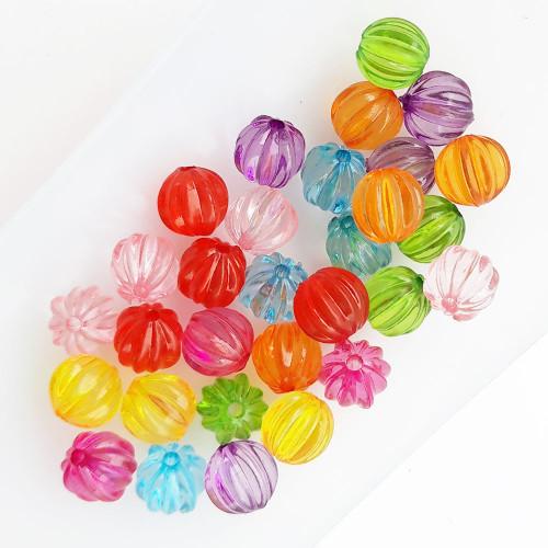 Acrylic Beads 8.5mm Pumpkin - Transparent Ass. - 30 Beads