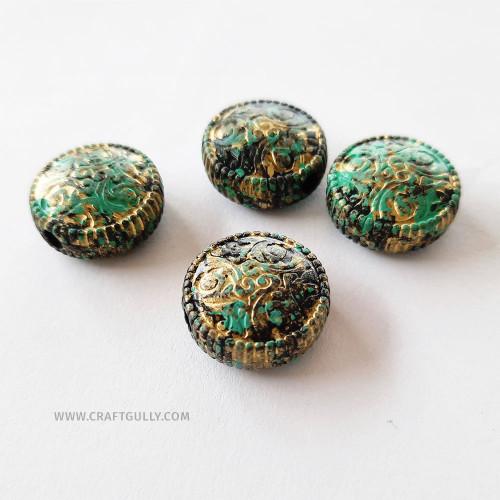 Acrylic Beads 19mm - Disc Vintage Bronze - 6 Beads