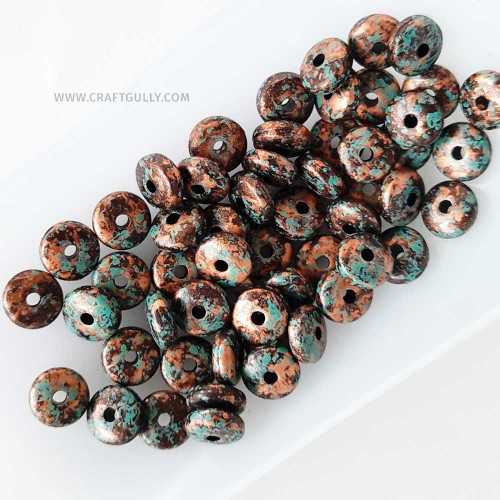 Acrylic Beads 8mm - Disc Vintage Copper - 50 Beads