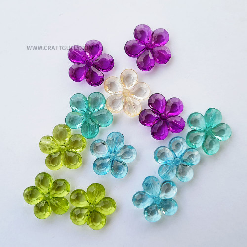 Acrylic Beads 21mm - Flower #8 Trans. Assorted - 12 Beads