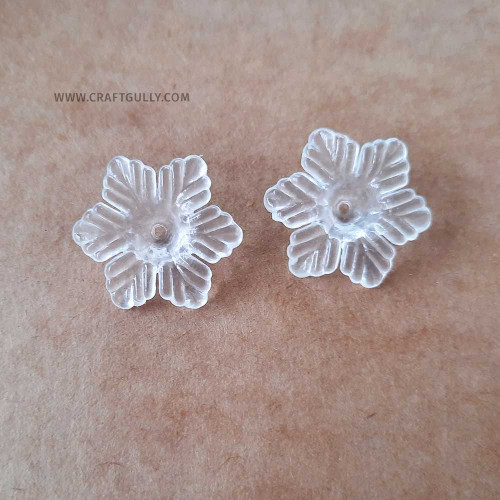 Acrylic Beads 27mm - Flower #9 Clear - 5 Beads