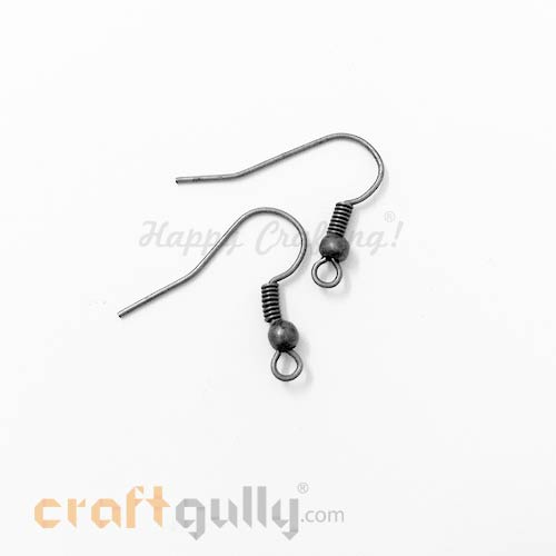 Earring Hooks - Gun Metal Finish - 6 Pairs