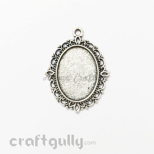 Pendant Blank #1 - 21mm - Oval Antique Silver Finish - Pack of 2