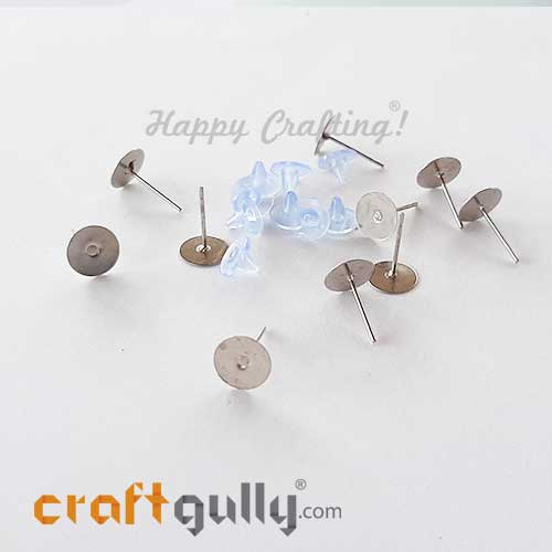 Earring Studs 8mm - Flat With Stoppers - Silver - 5 Pairs