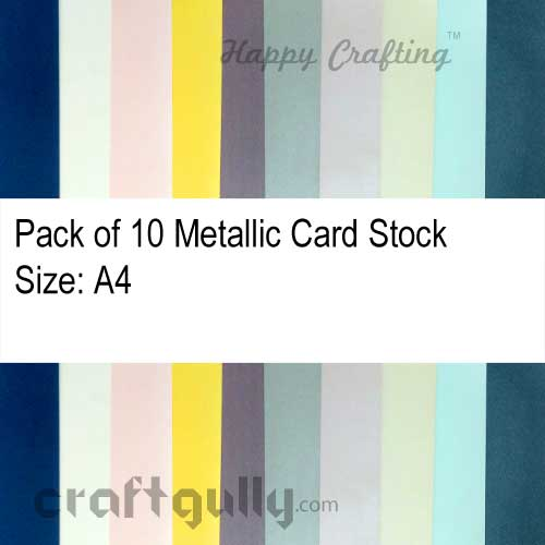 Card Stock A4 - Metallic Assorted - Pack of 10