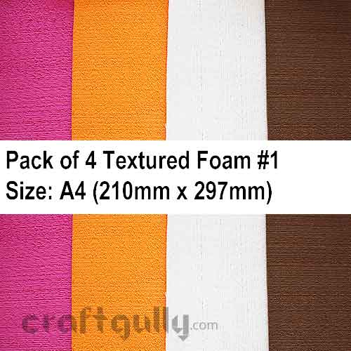 Foam Sheets A4 - Textured #1 - Assorted - Pack of 4
