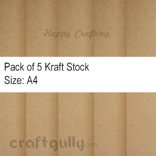 Card Stock A4 - Brown Kraft - Pack of 5