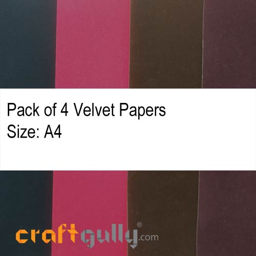 Velvet Paper A4 - Assorted - Pack of 4