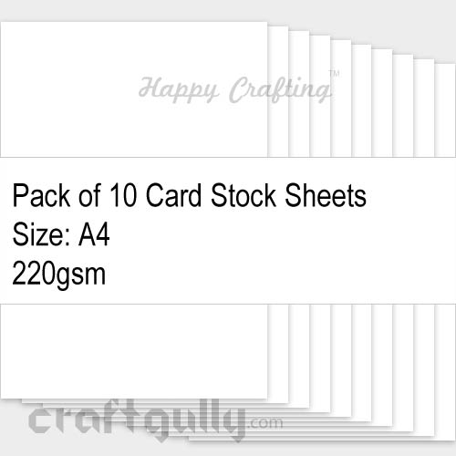 CardStock A4 - Snow White 220gsm - Pack of 10
