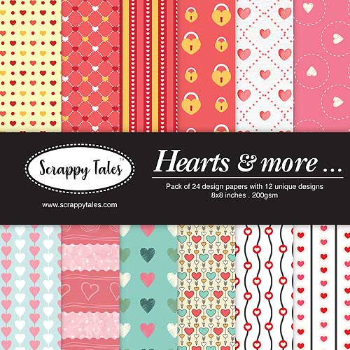 Pattern Paper 8x8 - Hearts & More - Pack of 24